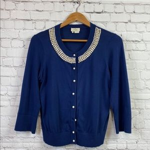 Kate Spade Bejeweled Navy Blue 3/4 sleeve Cardigan